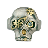 Daisy Skull Ring in 18K Yellow Gold Design w Sterling Silver Base