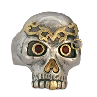 Bjorn s Skull Ring in 18K Yellow Gold Design w Sterling Silver Base
