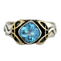Mayflower Ring in Swiss Blue Topaz