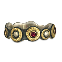 Wemple Ring with Rubies in 14K Yellow Gold Design w Sterling Silver Base