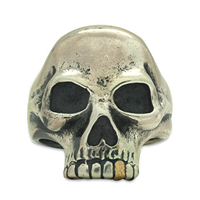 Joe s Skull Ring in 18K Yellow Gold Design w Sterling Silver Base