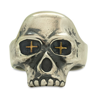 Betsy Skull Ring in 18K Yellow Gold Design w Sterling Silver Base